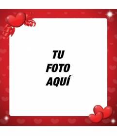 Marco Para Decorar Fotos De Amor De Color Rojo Y Con Corazones - Decorar-marco-fotos