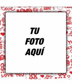 Marco de fotos de amor para personalizar las fotos con tu novio o novia y crear fotomontajes para regalar a tu pareja.