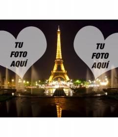 Fotomontaje con la Torre Eiffel iluminada en París y dos corazones donde colocar tus fotos.