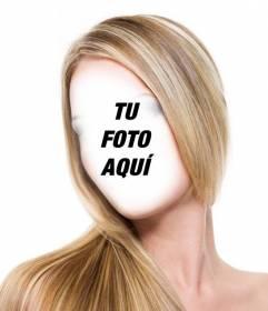 Fotomontaje para ponerte el pelo rubio con mechas y liso sin ir a la peluquería y gratis