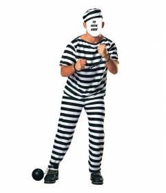 Crea fotomontajes poniendo tu cara en esta imagen de un preso con cadenas y ropa de rayas negra y blanca.