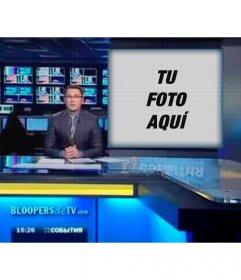 Fotomontaje para que aparezcas en la pantalla de un programa de televisión con un presentador de noticias.