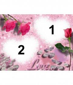 Postal para tu enamorado, rosa con corazón. Personalizable con 2 fotos