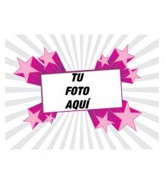 Marco para fotos color fucsia con formas de estrellas. Para poner tu foto de fondo y decorar tu perfil!