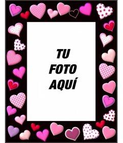 Marco para fotos con corazones rosas sobre fondo negro