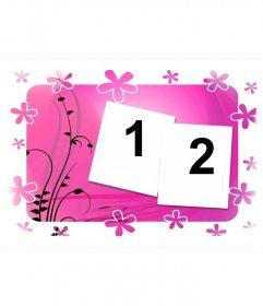 Marco para dos fotos, fondo rosa con flores y motivos vegetales. Estilo polaroid.