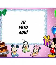 Postal infantil de Feliz Cumpleaños con Mickey Mouse