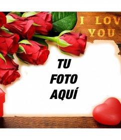 Postal de amor con rosas rojas para editar con tus fotos