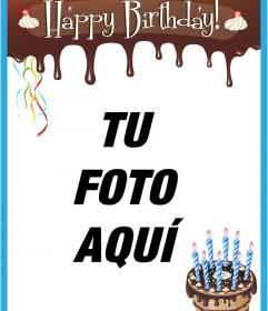 Tarjeta para feliz cumpleaños con borde de chocolate derretido