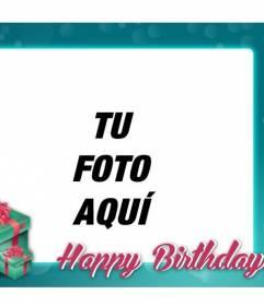 Postal de cumpleaños con marco turquesa para felicitar el cumple a tus amigos y familiares