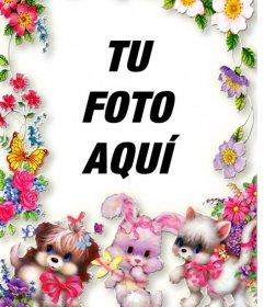 Marco de fotos con flores y cachorritos. Sube tu foto y ponla de fondo.