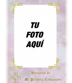 de primera comunión. Marco rectangular con letras en oro, para ...