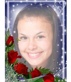 Marco para fotos con bordes luminosos adornado con una ramo de rosas