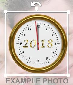 FElicitar año nuevo con el reloj señalando año 2018
