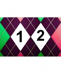 Collage para dos fotografías con un estampado de rombos tweed verde, rosa y morado