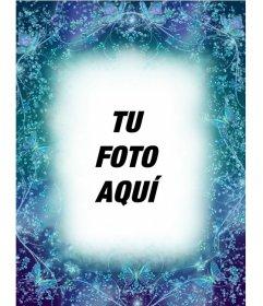 Marco para fotos con mariposas sapphire de fondo azul para poner una foto