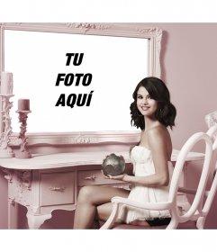 Fotomontaje con Selena Gomez para poner una foto junto a ella en un espejo