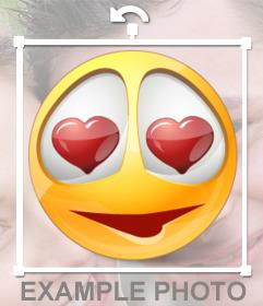 Smiley con corazones en los ojos para poner en tus fotos como si fuera una pegatina(sticker)