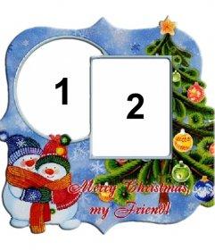 Marcos Para Fotos De Arbol De Navidad.Marco Para Dos Fotos Con Motivo De Navidad Arbol Y Munecos