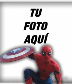 El Hombre Araña con el escudo de Cápitan América para poner tu foto