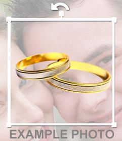 Pon unos anillos de boda en tu foto con este sticker online