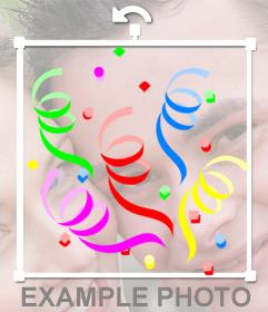 Sticker con confetti de colores para decorar fotos online