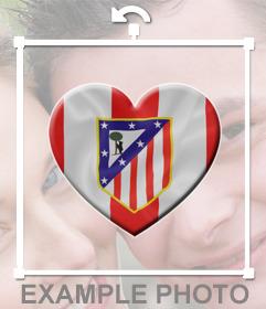 Corazón con la bandera del Atlético de Madrid para pegar en tus fotos