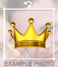 Pon una corona dorada de Rey en tus fotos como un sticker decorativo