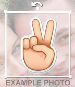 Emoji de la mano en forma de V para pegar en tus fotos como sticker