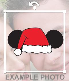 Sticker de las orejas de Mickey y un gorro de Papá Noel para tus fotos