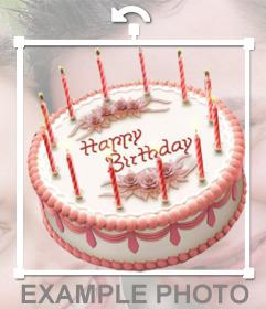 Pegatina online de un pastel de cumpleaños para insertar en tus imagenes