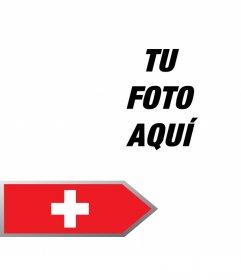 Añade una flecha con la bandera de Suiza en tus fotos gratis