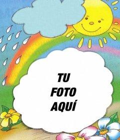 Marco para fotos con fondo del sol saliendo de una nube y - Imagenes de nubes infantiles ...