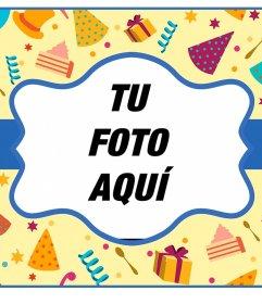 Postal colorida online para felicitar un cumpleaños y poner tu foto.