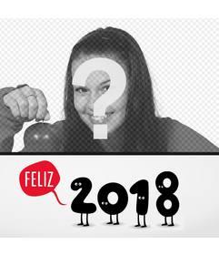 Tarjeta online para felicitar el año 2018 con tu foto