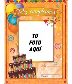 Tarjeta de feliz cumpleaños con tarta y globos para personalizar