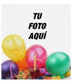 Tarjeta de fiesta de cumpleaños con un filtro tipo cómic y unos globos para poner la imagen detrás y felicitar a quien quieras.