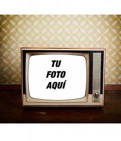 Marco en forma de televisi n antigua en un fondo de los 80 - Marco foto antigua ...