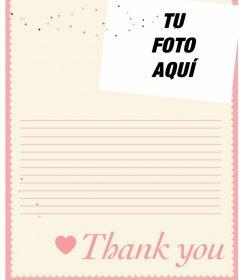 Carta de agradecimiento online que puedes personalizar con una foto