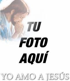 Tarjeta YO AMO A JESÚS con la foto de Jesucristo, para poner tu foto de fondo