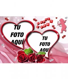 Fotomontaje de dos fotos en forma de corazón, con rosas y fondo de color rosa.