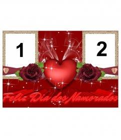 Marco para dos fotos de amor, que felicita el dia de los enamorados, San Valentín.