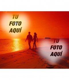 Fotomontaje a donde dos fotografías en forma de collage junto a un corazón y una foto que refleja el paseo idílico de una pareja por la playa