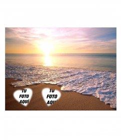 Pon dos fotos en la arena de la playa con una puesta de sol de fondo en la playa