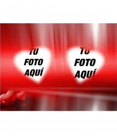 Romántica foto donde podrás poner tus dos fotos en unos marcos con forma de corazón