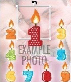 Velas para poner en fotos de cumpleaños desde 1 a 9 años
