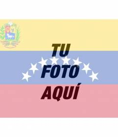 Fotomontaje con la bandera de Venezuela de fondo.