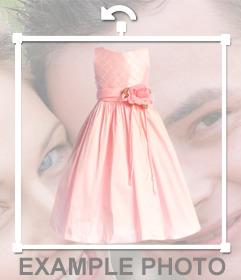 Sticker de un vestido rosa de comunión para poner en tu foto