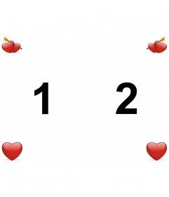 Fondo de pantalla personalizado para enamorados para dos fotos con corazones de San Valentín