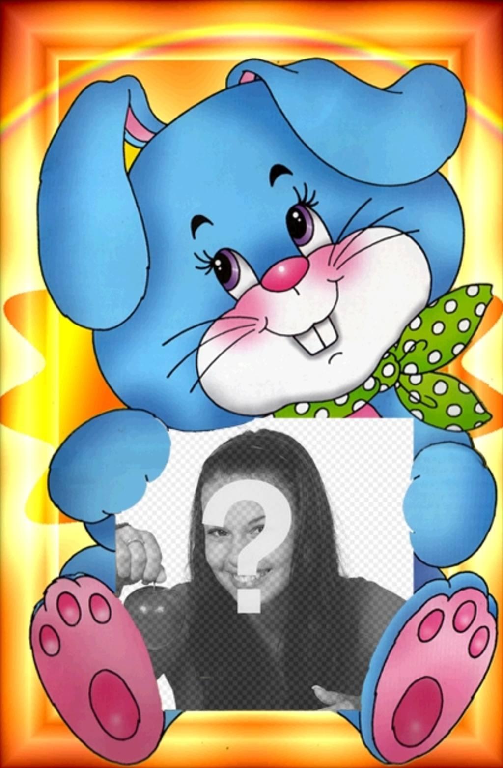 fotografia sujeta un dibujo adorable un conejo azul un panuelo verde guarda o envia imagen gratuitamente